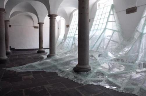 Mur de verre brise
